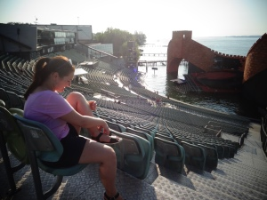 Just imagine watching a play here - the Bregenz Theatre (me: readjusting the straps on my sandals)